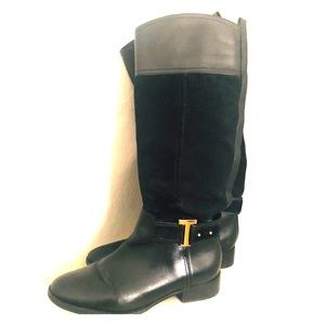 Tory Burch blk suede and leather riding boot sz9